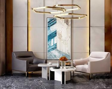 现代奢华单人沙发茶几组合3D模型【ID:920803644】