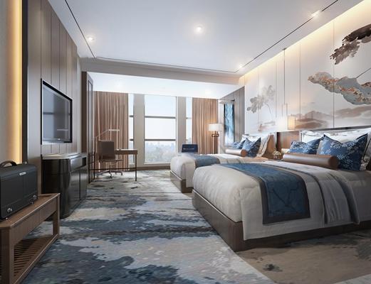 新中式酒店客房双人房3D模型【ID:47004868】