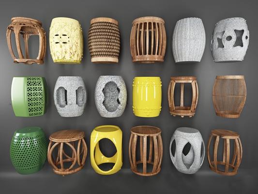 中式实木镂空鼓凳组合3D模型【ID:47005735】