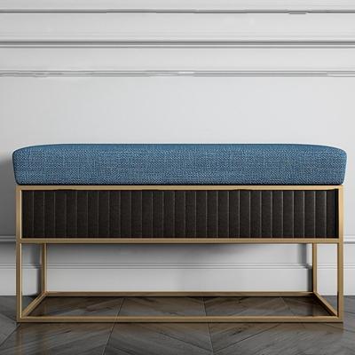 现代金属布艺床尾凳3D模型