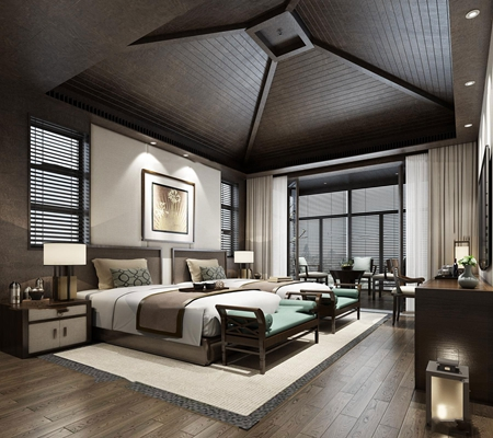 中式酒店客房双人间3D模型【ID:47051762】