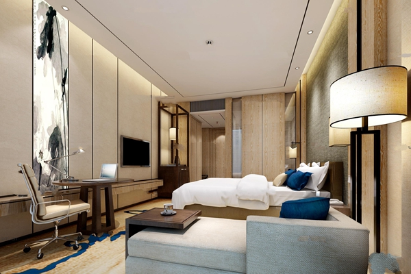 中式酒店客房双人房3D模型【ID:47058565】