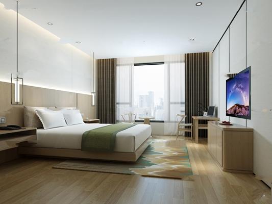 中式酒店客房标间3D模型【ID:47059469】
