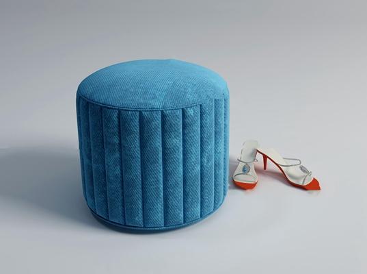 现代蓝色布艺凳子高跟鞋组合3D模型【ID:47065832】