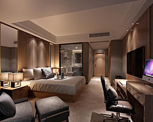 现代酒店客房双人间3D模型【ID:47073568】