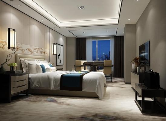 新中式酒店客房单人间3D模型【ID:47079369】