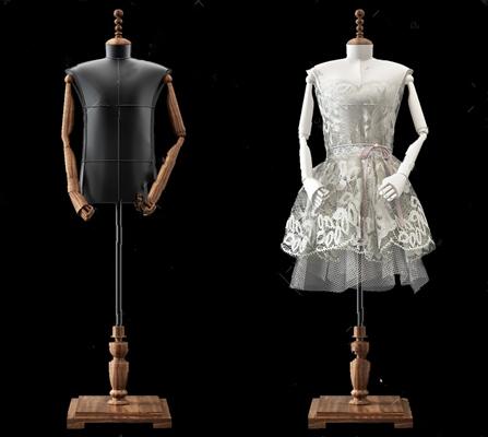 服装模特组合3D模型【ID:47098711】