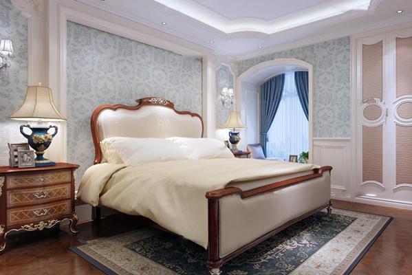 美式实木双人床床头柜台灯壁灯3D模型【ID:419709360】