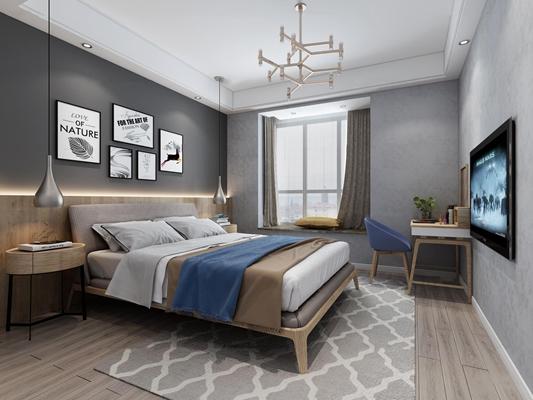 北欧卧室双人床3D模型【ID:47113130】