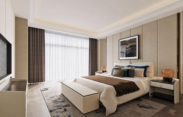 现代卧室双人床3D模型【ID:419725341】