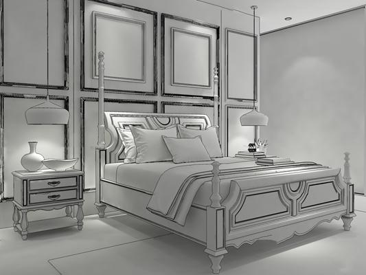 美式双人床床头柜组合3D模型【ID:47113335】