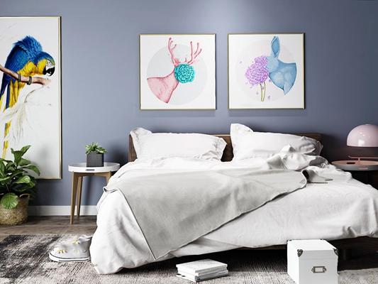 现代双人床装饰画组合3D模型【ID:47113739】