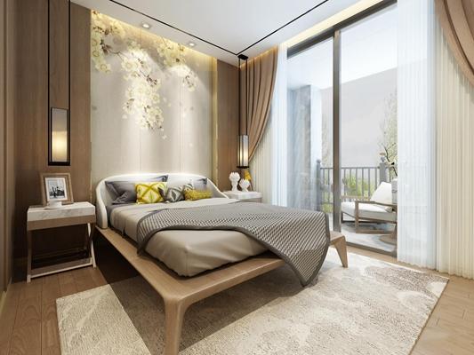 新中式卧室主人房3D模型【ID:419740384】