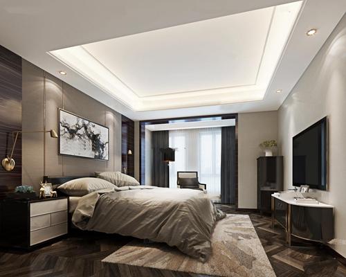 现代卧室空间3D模型【ID:419741394】