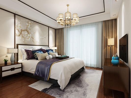 新中式卧室空间3D模型【ID:419769319】