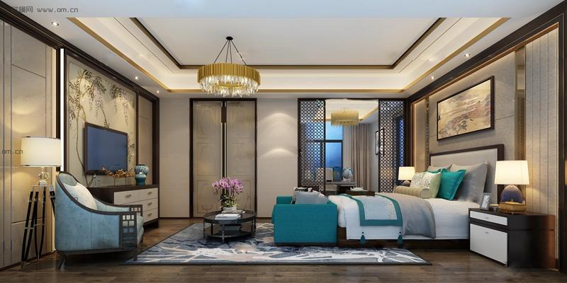 新中式卧室空间3D模型【ID:419771328】