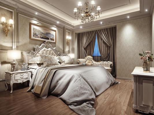 欧式卧室空间3D模型【ID:47115231】