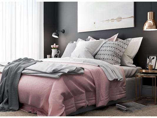 现代美式床具组合3D模型【ID:47115939】