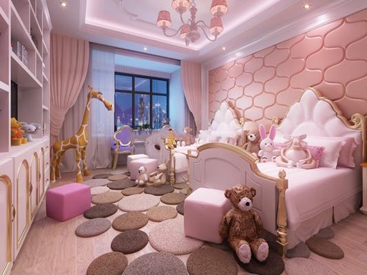 双人儿童床动物玩具组合3D模型【ID:47153856】