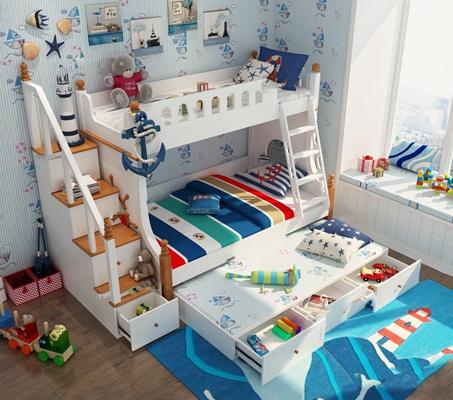 地中海儿童上下床3D模型【ID:47153857】