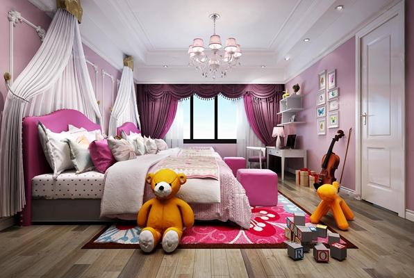 欧式儿童房女孩卧室3D模型【ID:47153952】