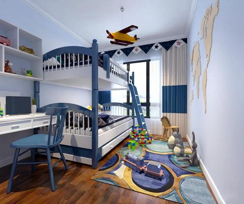 地中海儿童卧室男孩房上下床3D模型【ID:419709524】