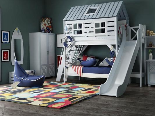 北欧儿童上下铺床衣柜3D模型【ID:47154353】