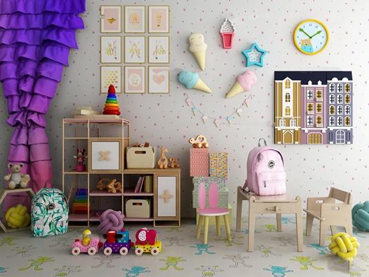 现代儿童房儿童玩具桌椅组合3D模型【ID:47154555】