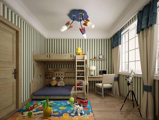 北欧儿童房卧室空间3D模型【ID:47154558】