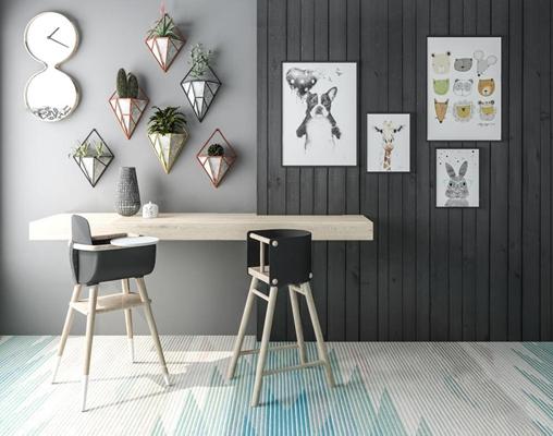 现代儿童餐桌椅装饰植物挂画组合3D模型【ID:47154653】