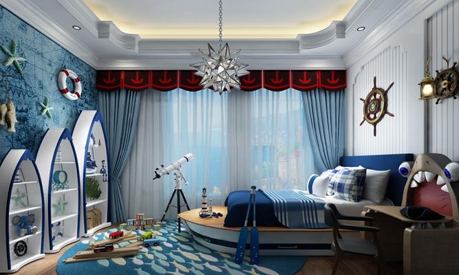 地中海儿童房卧室空间3D模型【ID:47154656】