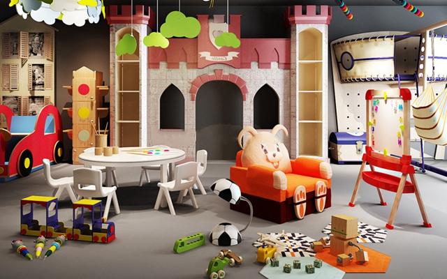 欧式儿童玩具沙发桌椅组合3D模型【ID:47154659】
