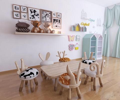 现代儿童桌动物凳子玩具装饰架组合3D模型【ID:47154756】