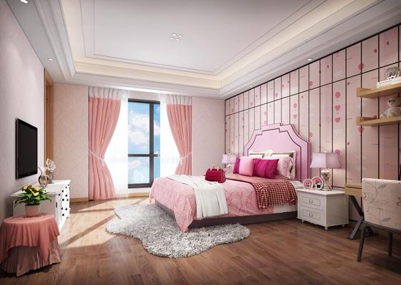 现代儿童房女孩卧室3D模型【ID:47155051】
