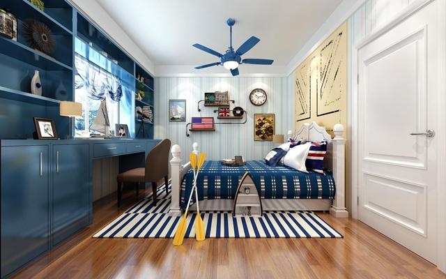 地中海风格男孩房儿童卧室空间3D模型【ID:47155055】