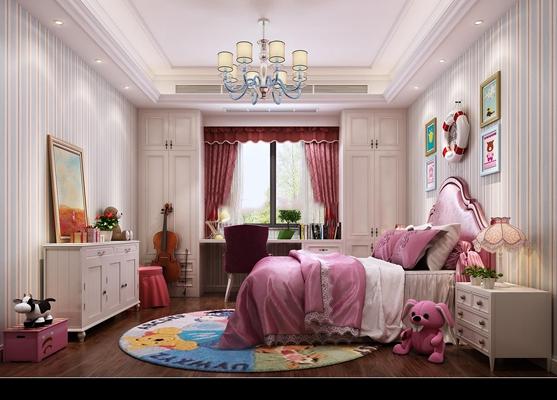 欧式公主儿童房3D模型【ID:47155056】