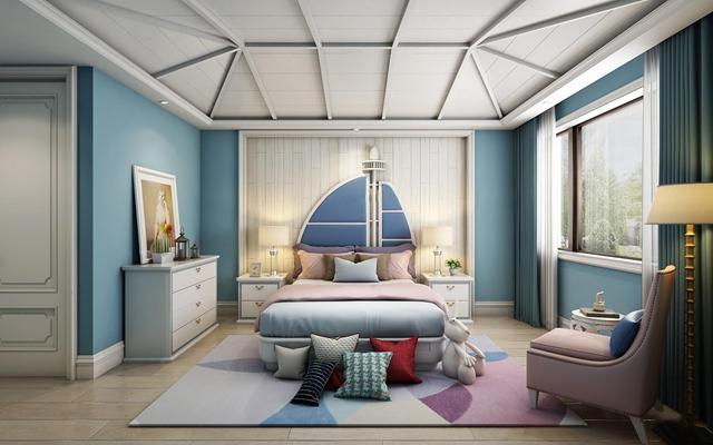 欧式儿童房卧室空间3D模型【ID:47155154】