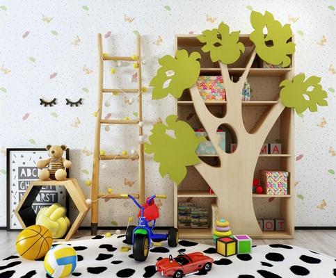 现代树造型儿童书柜玩具组合3D模型【ID:47155251】