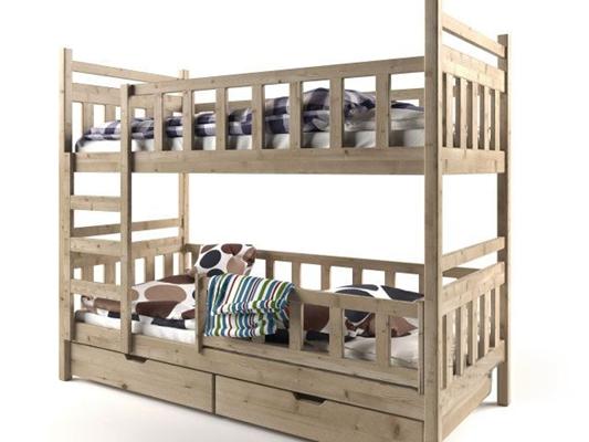 现代实木上下铺架子床3D模型下载【ID:47155450】