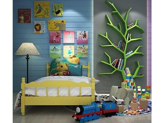 简欧儿童床树形书架玩具组合3D模型下载【ID:47155452】