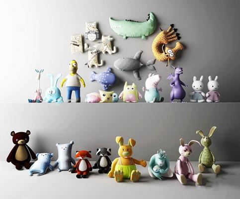 儿童毛绒玩具组合3D模型【ID:47155556】