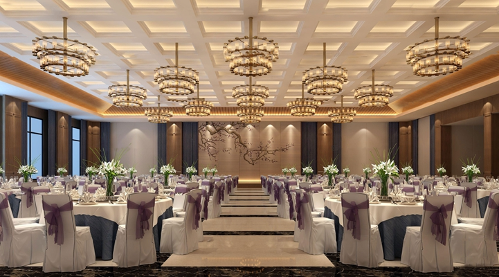 现代酒店宴会厅3D模型【ID:47158324】