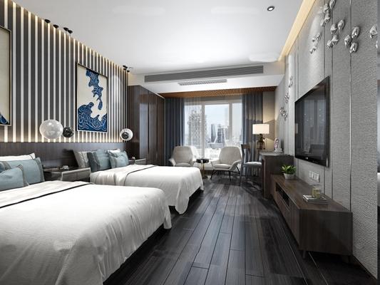 后现代酒店双人房客房3D模型【ID:47158327】