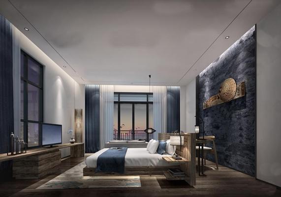 现代酒店客房单人间3D模型【ID:47158421】