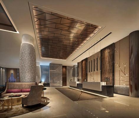 现代酒店大堂及大堂吧休息区3D模型【ID:47158521】