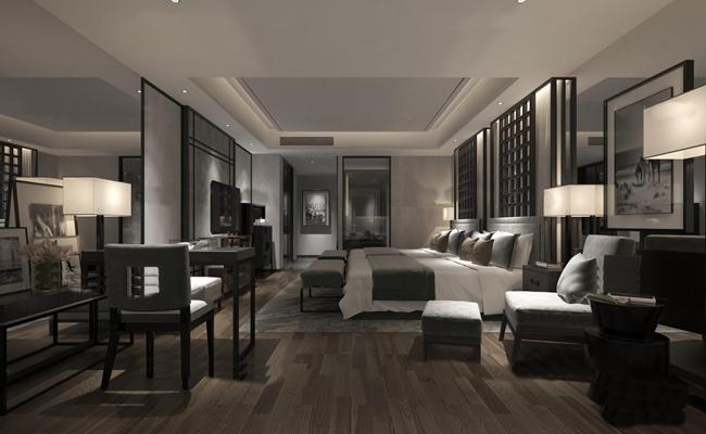新中式酒店客房双人间3D模型【ID:47158621】