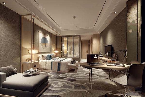 中式酒店客房单人间3D模型【ID:47158622】