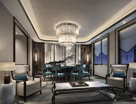 新中式餐厅包房3D模型【ID:47158624】