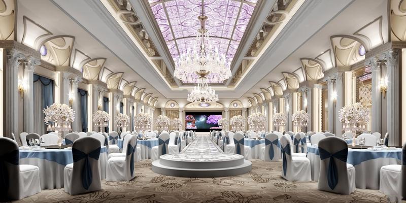 现代酒店宴会厅3D模型【ID:47158822】