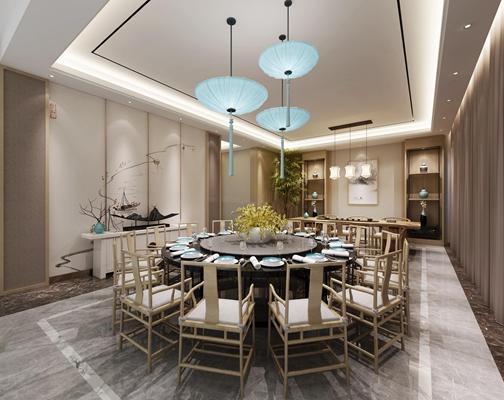 新中式酒楼餐厅包房3D模型